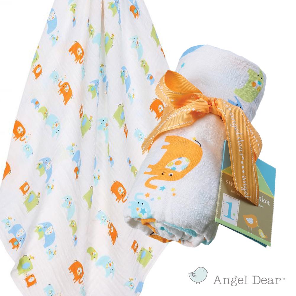 美國 Angel Dear 竹纖維嬰幼兒包巾 (藍色大象)