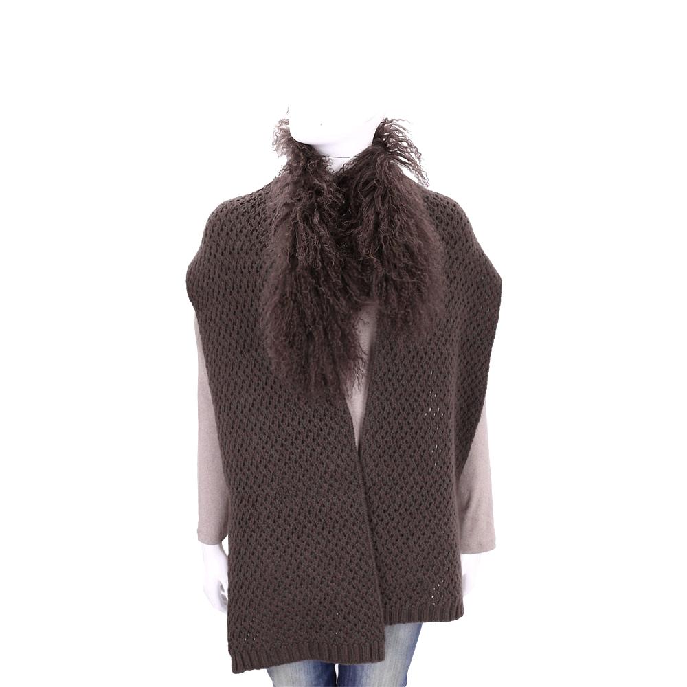 ALLUDE 咖啡色網狀針織拼接毛領羊毛圍巾(70%WOOL)