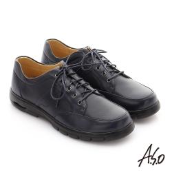 A.S.O 挺力氣墊系列 牛皮綁帶機能紳士休閒鞋 深藍色