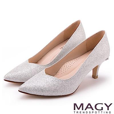 MAGY 簡約奢華風 閃爍鑽石光澤夢幻高跟鞋-銀色