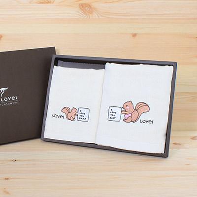 Lovel 天然有機棉紗布毛巾/童巾禮盒-松鼠
