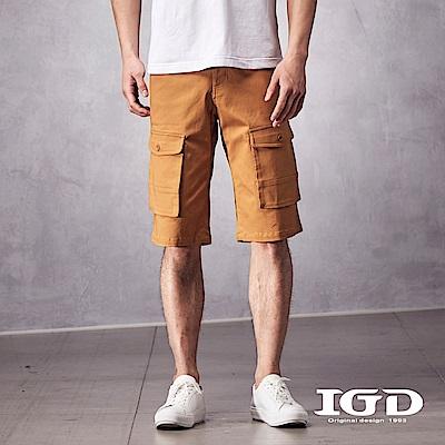 IGD英格麗 都會休閒斜紋彈性棉質剪接口袋五分工作短褲