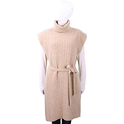 Max Mara 麻花針織駝色高領綁帶羊毛罩衫