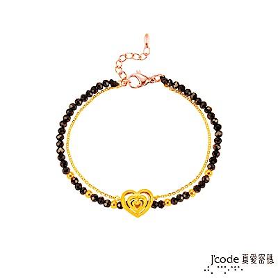 J'code真愛密碼 溫柔心黃金/尖晶石手鍊-雙鍊款