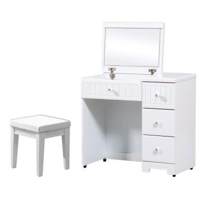 Boden-艾莎法式2.7尺掀式化妝桌/鏡台(贈化妝椅)-81x40x75cm