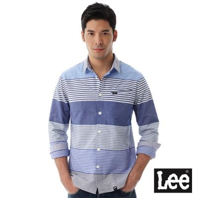Lee  橫條紋長袖襯衫/RG-男款-藍
