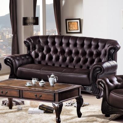 AS -維奧拉咖啡色三人座皮沙發