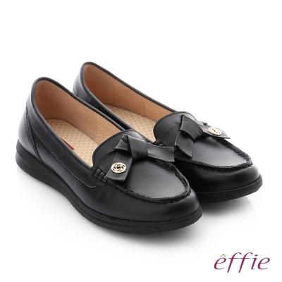 effie 彈力舒芙 牛皮蝴蝶結奈米彈力平底休閒鞋 黑色