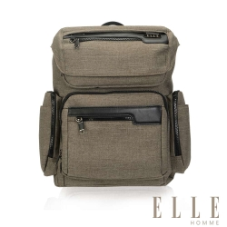 ELLE HOMME 精湛優雅紳士風範13吋筆電扣層極致機能後背包-駝色