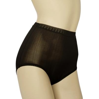 三角褲 100%蠶絲蕾絲高腰內褲2件組M-XL(黑) Seraphic