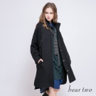 beartwo 素色口袋造型開衩長版大衣(二色)