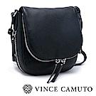 Vince Camuto 皮革拉鍊式半圓型側背包-黑色