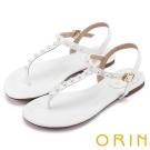 ORIN 夏日時尚風 典雅珍珠T字牛皮夾腳涼鞋-白色