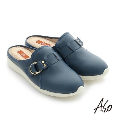 A.S.O 輕量休閒 真皮飾釦奈米後空懶人鞋 藍色