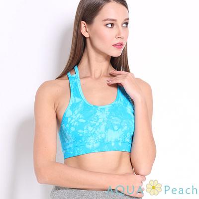 運動內衣 潑墨感渲染交叉美背彈性背心 (綠色)-AQUA Peach