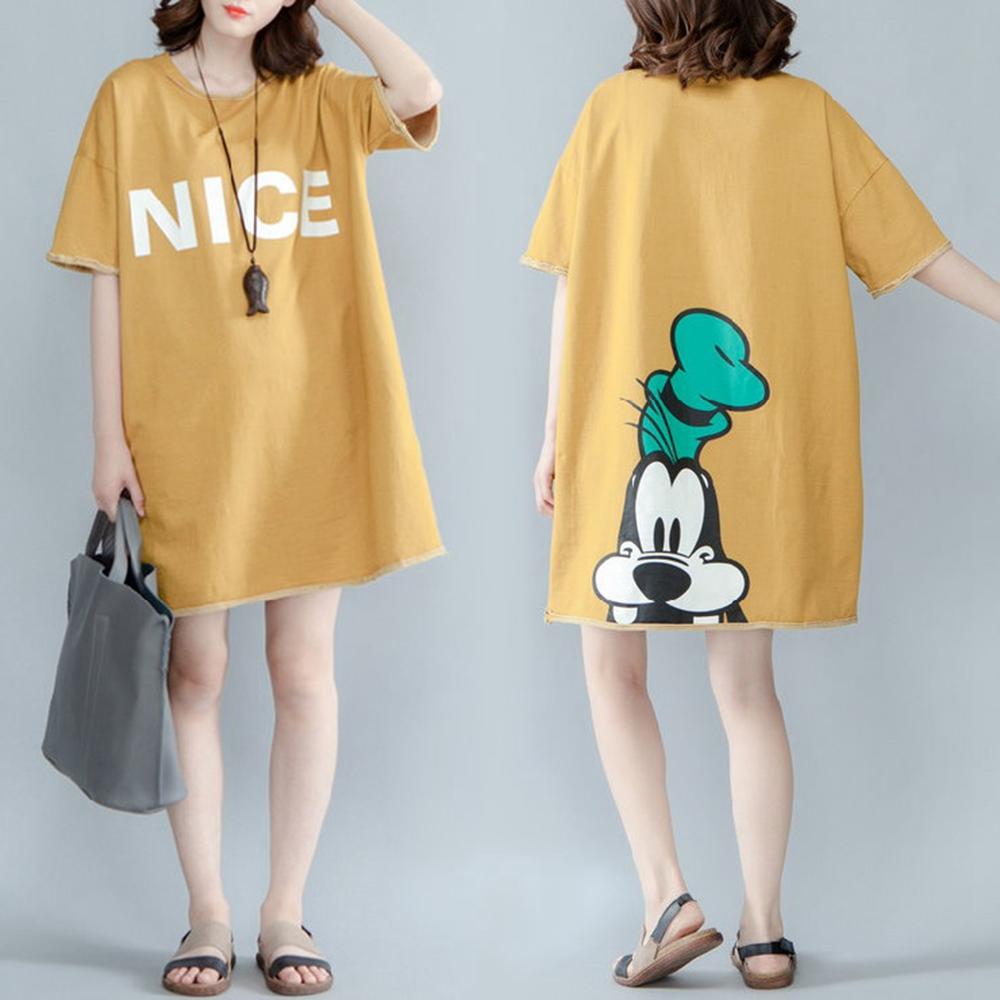 NICE高飛狗圓領寬鬆長版T恤-L~XL-Keer