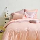 Cozy inn 簡單純色-莓粉 加大四件組 200織精梳棉薄被套床包組