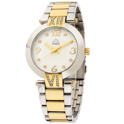 Kappa 低調奢華不鏽鋼時尚腕錶-白x金/40mm