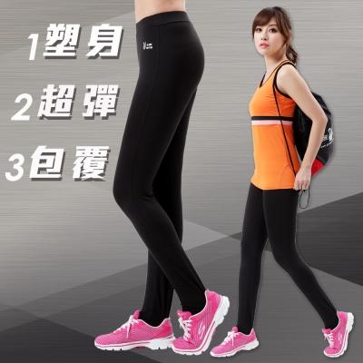 【遊遍天下】MIT台灣製3D彈力塑身吸排機能壓力褲P113黑灰