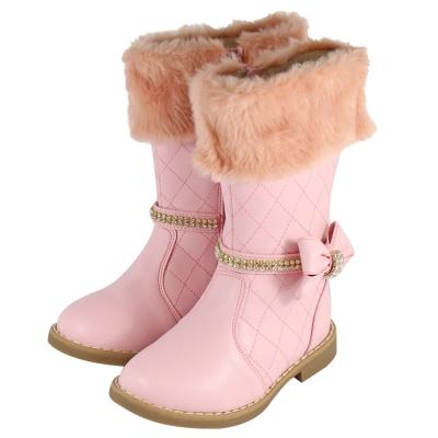 Swan天鵝童鞋-夢幻甜美菱格紋馬靴 3781-粉