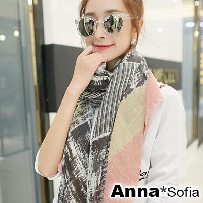 AnnaSofia-拓染石印-拷克邊韓國棉圍巾披肩-米藕粉系