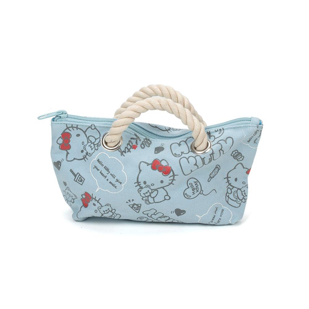 Sanrio HELLO KITTY麻繩帆布迷你提包快樂小熊