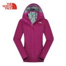 The North Face北面女款茄紫防水透氣保暖三合一外套