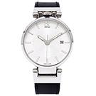 CK Calvin Klein WORLDLY 引領時尚皮帶男手錶-銀/42mm