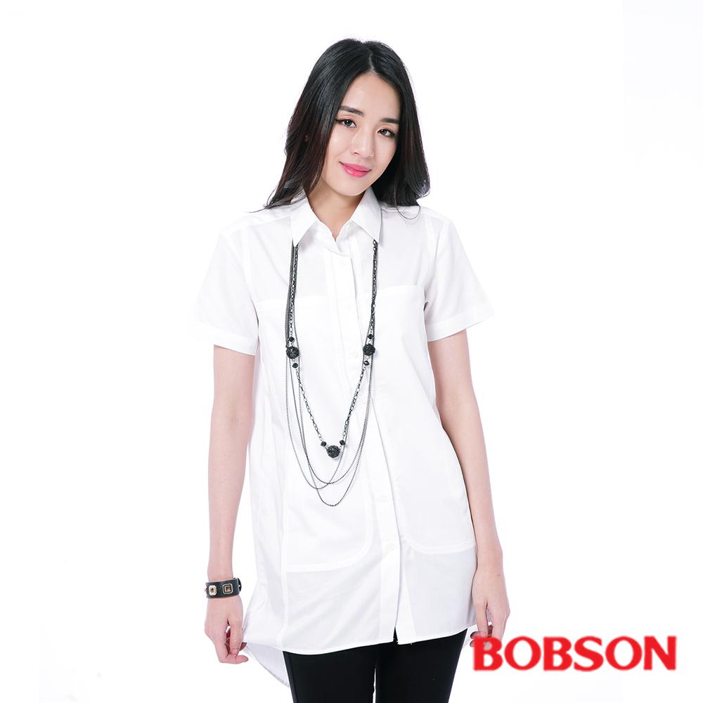 BOBSON  女款白色長版襯衫