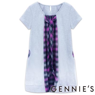 Gennies奇妮-甜美雅緻紫格紋秋冬洋裝-(H2204 )紫M
