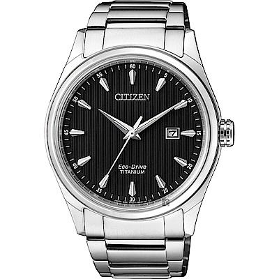 CITIZEN 星辰光動能鈦金屬手錶-黑x銀/41mm(BM7360-82E)