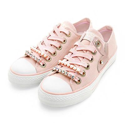 PLAYBOY奢華輕語 可拆華麗鞋帶釦帆布鞋-粉