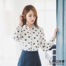 LIYO理優愛心印花雪紡襯衫(白色)