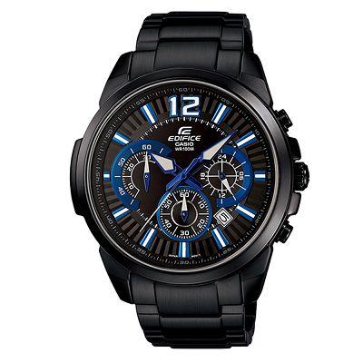 EDIFICE-搶眼跳色賽車魅力三針三眼腕錶-EFR-535BK-1A2-IP黑x藍-46mm
