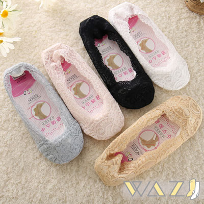 Wazi-純色蕾絲防滑船襪隱形襪1組五入