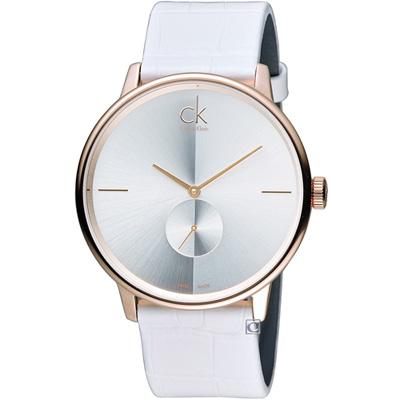 Calvin Klein 日月光系列小秒針時尚腕錶-玫瑰金色/寬/ 40 mm