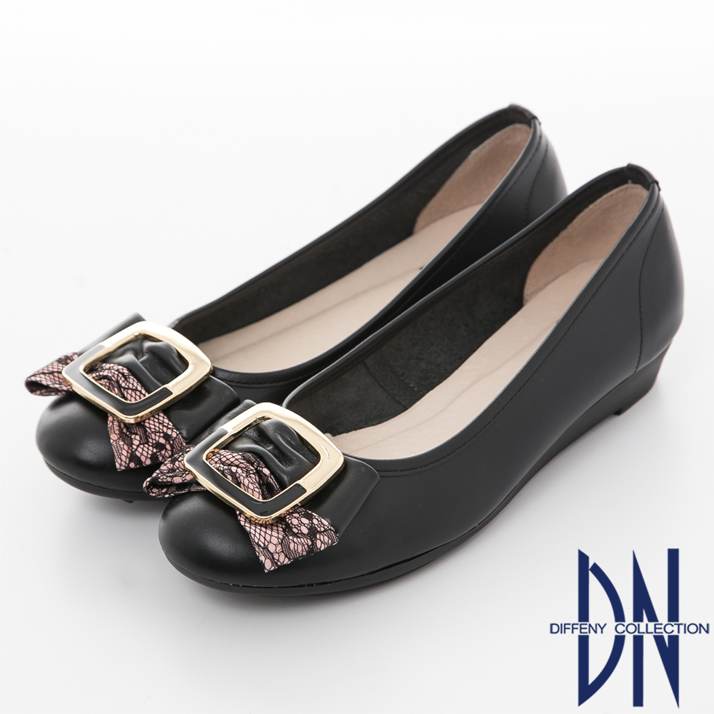 DN 典雅樂感 全真皮氣質蕾絲方扣舒適鞋 黑