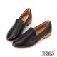 HERLS-百搭印象-全真皮經典素面樂福鞋-黑色