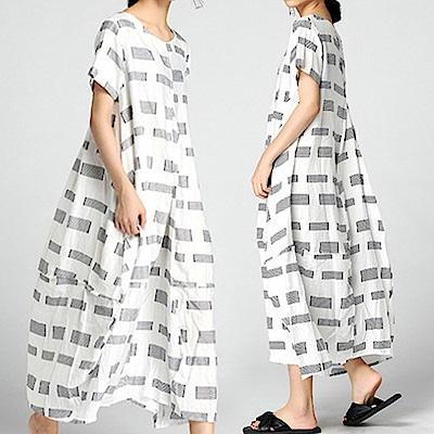 格紋印花棉麻花苞接襬洋裝-(共二色)Andstyle