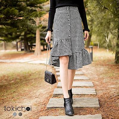 東京著衣 復古千鳥紋不對稱荷葉裙-S.M.L(共二色)