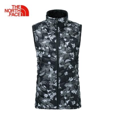 The North Face北面女款黑色印花色保暖防潑水鋪棉背心