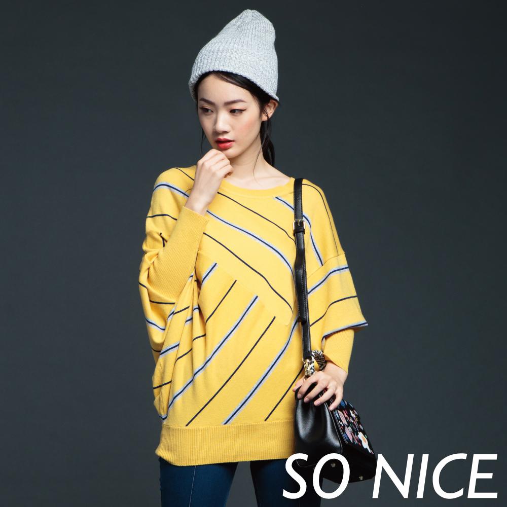 SO NICE飛鼠袖造型條紋針織上衣