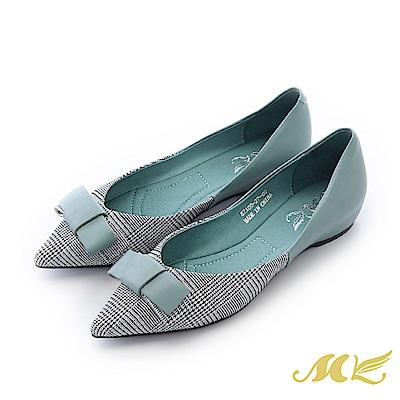 MK-手作真皮-復古千鳥格蝴蝶結尖頭平底鞋-湖水藍