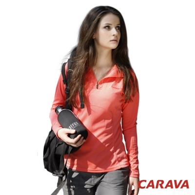 CARAVA-女款排汗長T-恤-橙紅