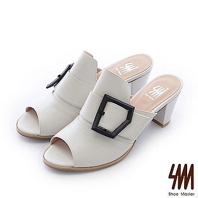 SM-台灣全真皮-大方釦修飾穆勒魚口中高粗跟拖鞋-白色