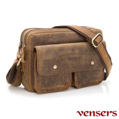 vensers 小牛皮潮流個性包~斜肩背包(ND 074001 瘋馬皮)