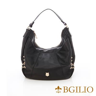 義大利BGilio-義大利水染牛皮率性肩背包-黑色-951.002-05