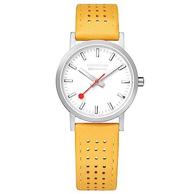 MONDAINE 瑞士國鐵Classic經典系列腕錶-30mm/金絲雀黃