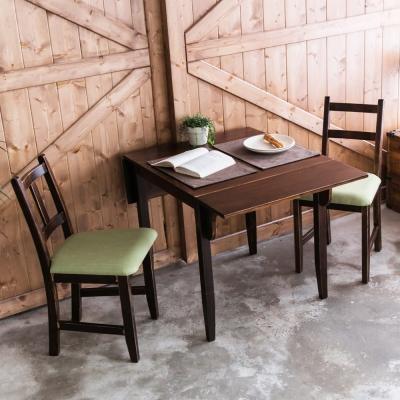 CiS自然行-雙邊延伸實木餐桌椅組一桌二椅74x122公分焦糖+綠椅墊