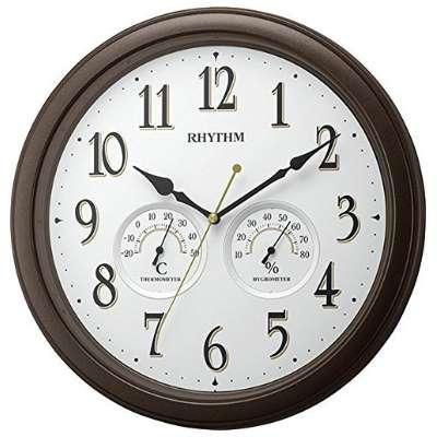 RHYTHM 日本麗聲 靜音 溫濕度掛鐘(8MGA37SR06)咖啡-33cm
